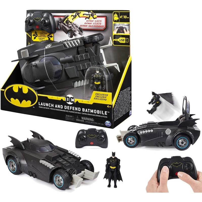 Batman, batmobile radiocomandata launch and defend, con sedile ad espulsione, dai 4 anni - 6055747