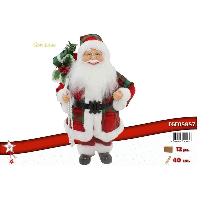 Babbo Natale 40 Cm.Fgf Babbo Natale Rosso Con Sacco E Luce Cm 40 Fgf1178